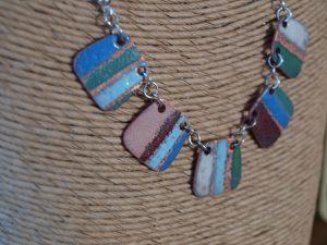 Enamel handmade copper link necklace