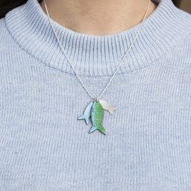 Shoal Fish Tag Necklace Copper enamel and sterling silver