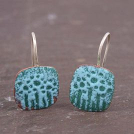 Powder Blue and Teal Enamelled Copper Earrings