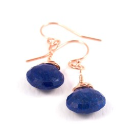 Rose Gold Lapis Lazuli Gemstone earrings, wirewrapped briolette drop earrings