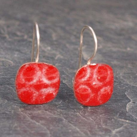 Red circles copper enamel earrings