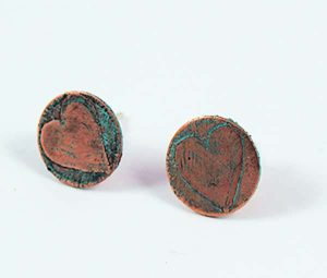 Copper etched Heart ear studs
