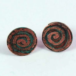 Copper Etched Swirl Earstuds
