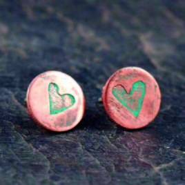 Copper Etched Heart Earstuds