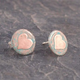 Handmade Vintage style copper etched earstuds