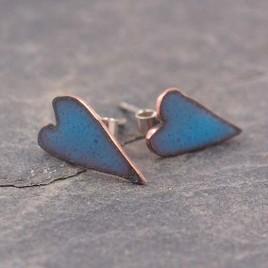 Ocean blue enamel heart ear studs, valentines gift ideas, romantic copper enamel heart earrings, handmade blue heart ear studs
