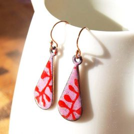 Copper Enamel Earrings with Rose Gold Pink and Red Floral abstract design