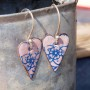 Pink Heart enamel earrings vintage style
