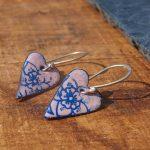 Pink Heart enamel earrings vintage style