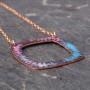 Patterned vitreous enamel square copper washer style pendant with rose gold chain,sgraffito kiln fired enamel pendant multi colour