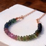 Tourmaline gemstone and rose gold necklace, mixed colour watermelon tourmaline, healing gemstone necklace with rose gold chain.