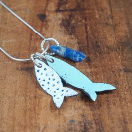Shoal Fish Tag necklace Copper enamel and sterling silver with Lapis lazuli