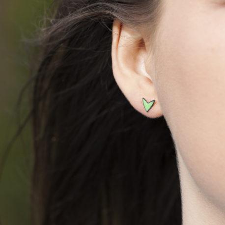 Small green shoot ear studs