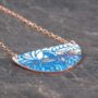 Copper Crescent Enamel Pendant, half moon patterned necklace, copper and rose gold with vitreous enamel #0109
