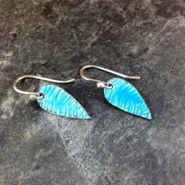 Transparent Blue and Silver enamel earrings