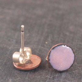 Rose Pink enamel ear studs, 8mm round copper stud earrings