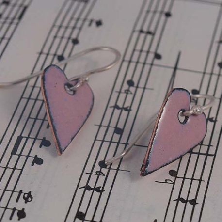 Rose Pink enamel heart earrings, wedding jewellery,romantic heart shaped copper enamel earrings,, pink heart drop earrings #0074