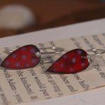 Copper enamel spot drop earrings in red and pink, colourful leaf shape earrings in copper enamel