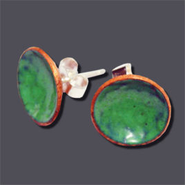 Enamelled Copper Emerald Green Round Small Ear Studs