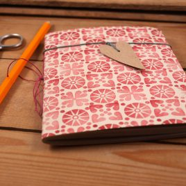 A6 Handstitched red journal, plain notebook,sketchbook, bullet journal, handstamped on 100% recycled paper, waxed linen bookmark with heart tag