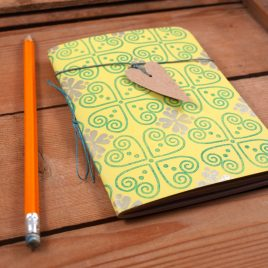 A6 Handstitched yellow/green journal, plain notebook,sketchbook, bullet journal, handstamped on 100% recycled paper, waxed linen bookmark with heart tag (Copy)