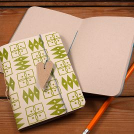A6 Handstitched cream/green journal, plain notebook,sketchbook, bullet journal, handstamped on 100% recycled paper, waxed linen bookmark with heart tag