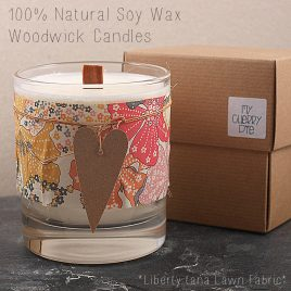 Liberty Tana Lawn 100% Natural Soy Wax Candle Glass with WoodWick