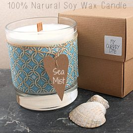 Liberty Tana Lawn 100% Natural Soy Wax Candle Glass with WoodWick Sea Mist