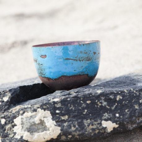 small copper enamel bowl blue