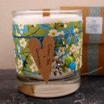 Liberty tana lawn decorated candle with czech glass beads