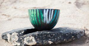 Large Copper enamel bowl
