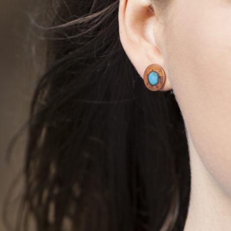 splat enamel and oxidised copper stud earrings