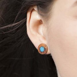 Splat enamel and oxidised copper stud earrings