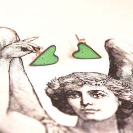 Apple Green Copper enamel heart stud earrings