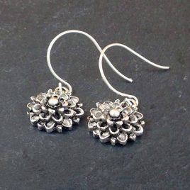 Vintage style silver plated chrysanthemum drop earrings