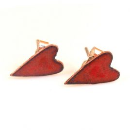 Cherry Red Copper Enamel Heart Stud earrings
