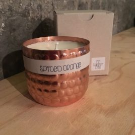 Spiced Orange Soy wax candle in dimpled copper pot