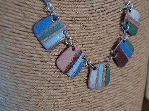 Enamel handmade copper link necklace