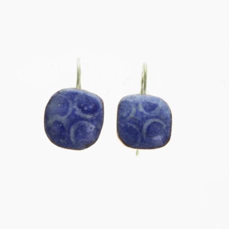 Deep blue copper enamel earrings