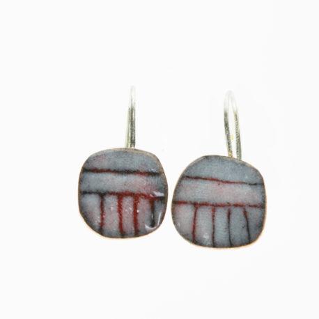 handmade red geometric copper enamel earrings