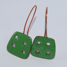 Emerald Green Handmade Copper Enamel Earrings