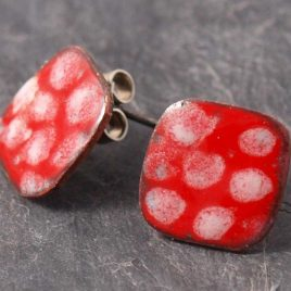 handmade enamel red dotty copper earrings