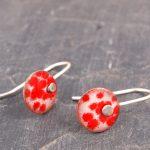 enamel round drop earrings
