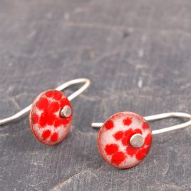 enamel round drop earrings
