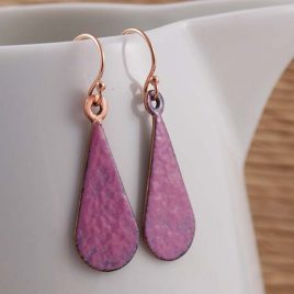 Pink Enamel Drop Earrings with Rose Gold