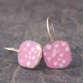 Copper Enamel Square Drop Earrings with Pink and White Spots