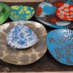 copper enamel trinket dish
