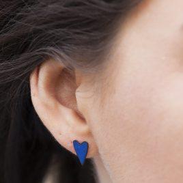 copper heart ear studs