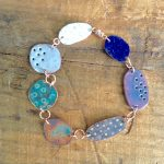 Copper enamel pebble link bracelet. #0101