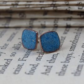 Copper enamel 8mm square denim ear studs